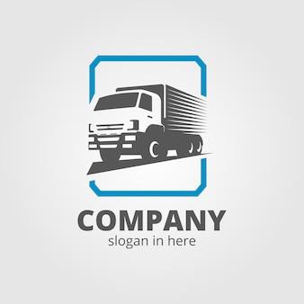 Una plantilla de logotipo de camión, carga, entrega, logística