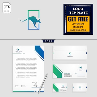 Plantilla de logotipo de canguro y diseño de papelería.