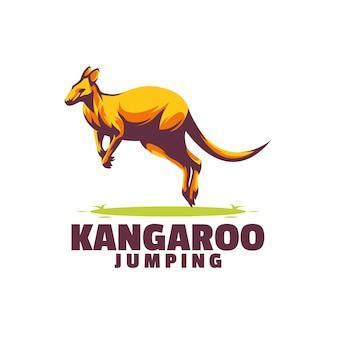 Plantilla de logotipo de canguro saltando