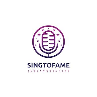 Plantilla de logotipo de canto y voz