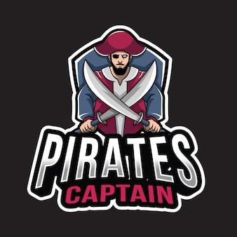 Plantilla de logotipo de capitán de piratas
