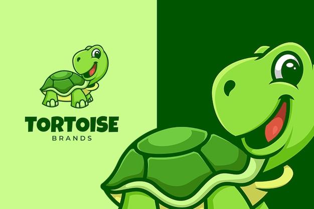 Plantilla de logotipo de cara feliz de tortuga verde