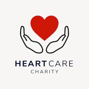 Plantilla de logotipo de caridad, vector de diseño de marca sin fines de lucro