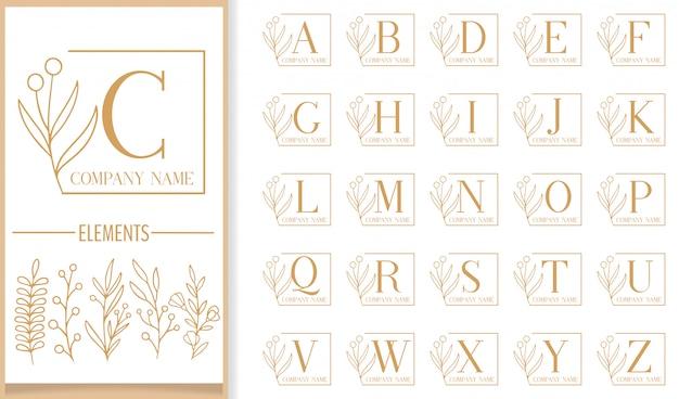Plantilla de logotipo de carta de marco floral de lujo premium