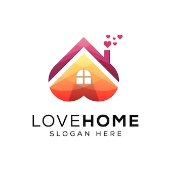 Plantilla de logotipo de casa de amor