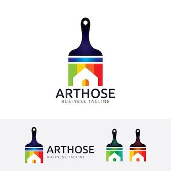 Plantilla de logotipo de la casa de arte