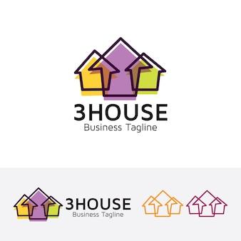 Plantilla de logotipo de casa tres