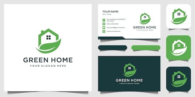 Plantilla de logotipo de casa verde, tarjeta de negocios