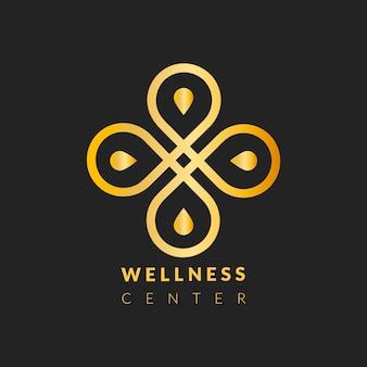 Plantilla de logotipo de centro de bienestar, vector de diseño profesional dorado
