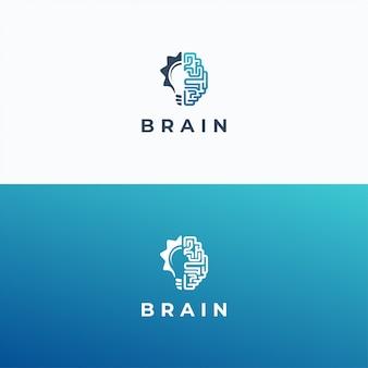 Plantilla de logotipo de cerebro y lámpara