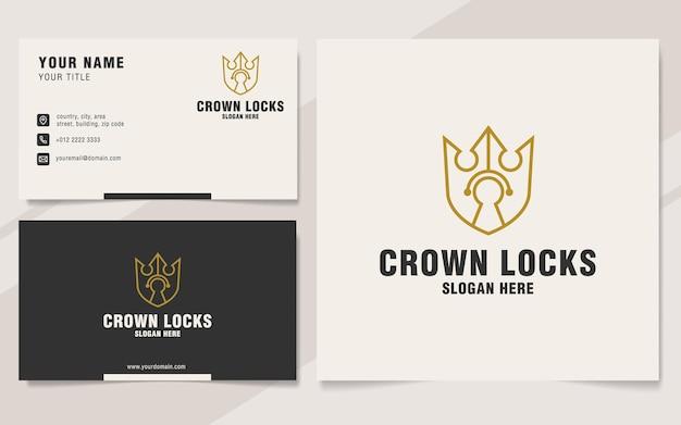 Plantilla de logotipo de cerraduras de corona en estilo monograma