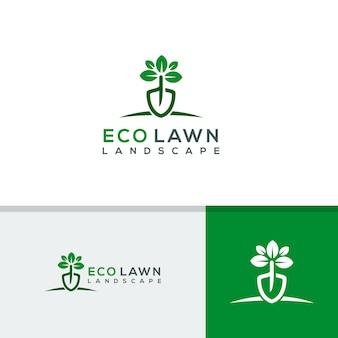 Plantilla de logotipo de césped ecológico