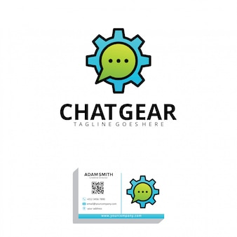 Plantilla de logotipo de chat gear