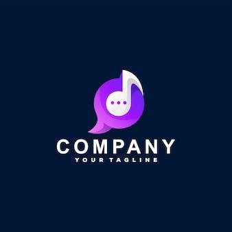 Plantilla de logotipo de chat de música