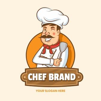 Plantilla de logotipo de chef detallada