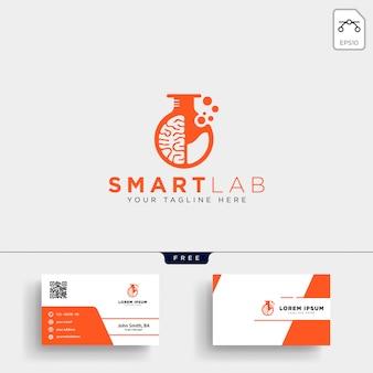 Plantilla de logotipo de ciencia de laboratorio de cerebro y tarjeta de visita