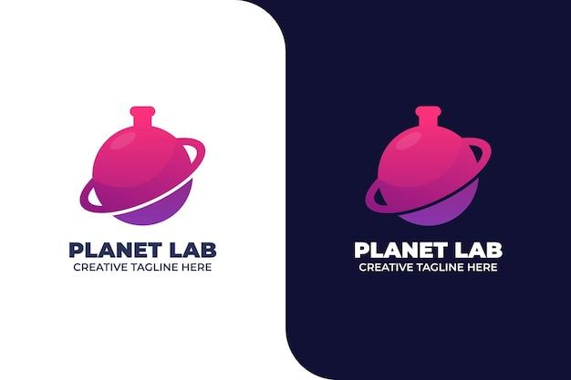 Plantilla de logotipo de ciencia de laboratorio de planeta