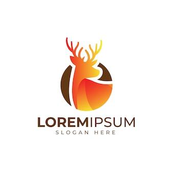 Plantilla de logotipo de ciervo plano