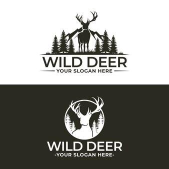 Plantilla de logotipo de ciervo salvaje