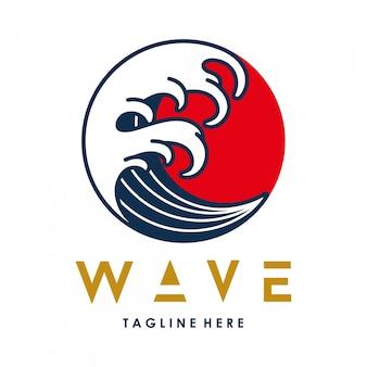 Plantilla de logotipo de círculo de estilo japonés de onda de agua de vector