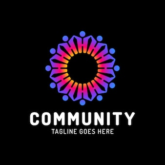 Plantilla de logotipo de círculo de personas de trabajo en equipo, comunidad social.