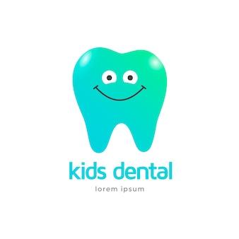 Plantilla de logotipo de clínica dental para niños. diente de personaje de icono sonriendo.