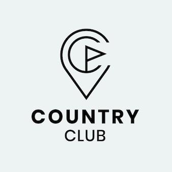 Plantilla de logotipo de club de golf de campo, vector gráfico de negocios profesionales