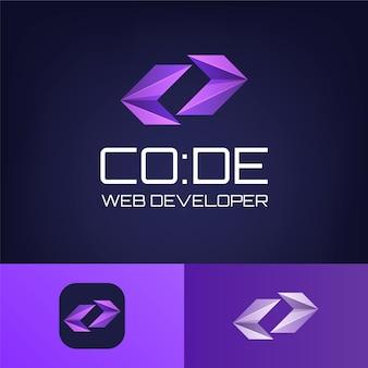 Plantilla de logotipo de código degradado