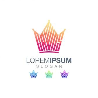 Plantilla de logotipo de color degradado de coronas