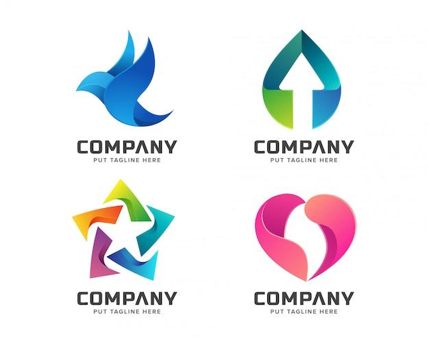 Plantilla de logotipo colorido abstracto para negocio