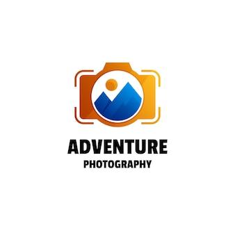 Plantilla de logotipo colorido degradado de fotografía