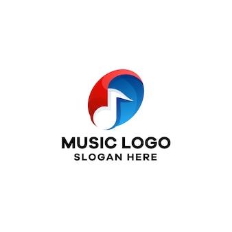 Plantilla de logotipo colorido degradado de música