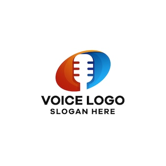 Plantilla de logotipo colorido degradado de voz