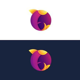 Plantilla de logotipo colorido flying fish