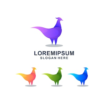 Plantilla de logotipo colorido gallo abstracto