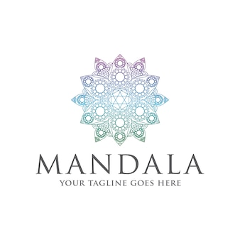 Plantilla de logotipo colorido mandala zen