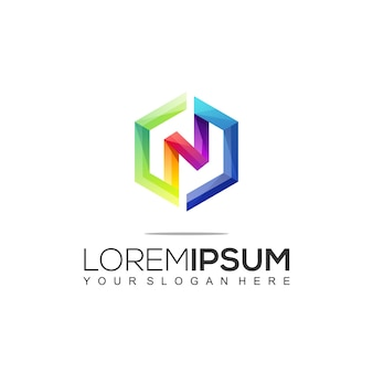 Plantilla de logotipo colorido moderno rectangular letra n