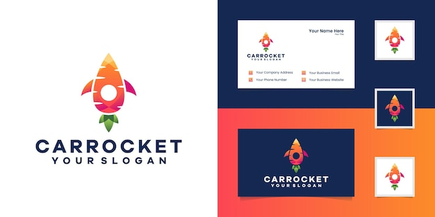 Plantilla de logotipo de combinación de zanahoria y cohete y tarjeta de visita