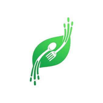 Plantilla de logotipo de comida rápida y saludable, logotipo de hoja con cuchara y tenedor
