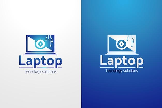 Plantilla de logotipo de computadora degradado