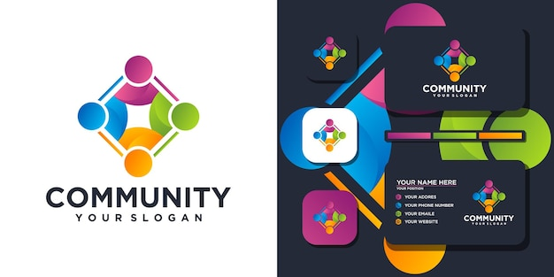 Plantilla de logotipo de comunidad colorida y referencia de tarjeta de visita. vector premium