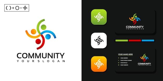 Plantilla de logotipo de comunidad colorida y referencia de tarjeta de visita.