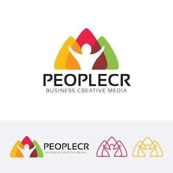 Plantilla de logotipo de comunidad creativa de personas