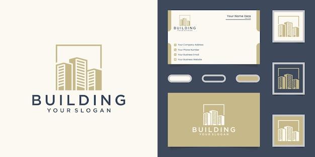 Plantilla de logotipo de construcción y tarjeta de visita