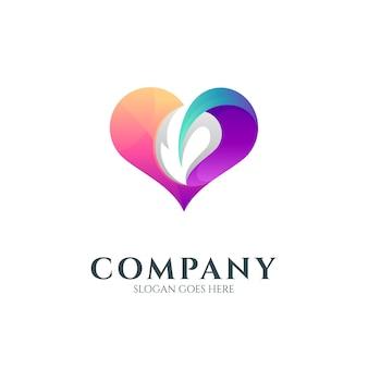 Plantilla de logotipo de corazón abstracto