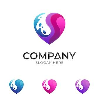 Plantilla de logotipo de corazón y agua