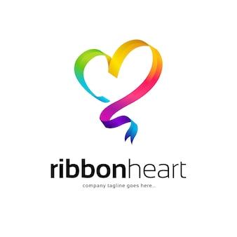 Plantilla de logotipo de corazón colorido