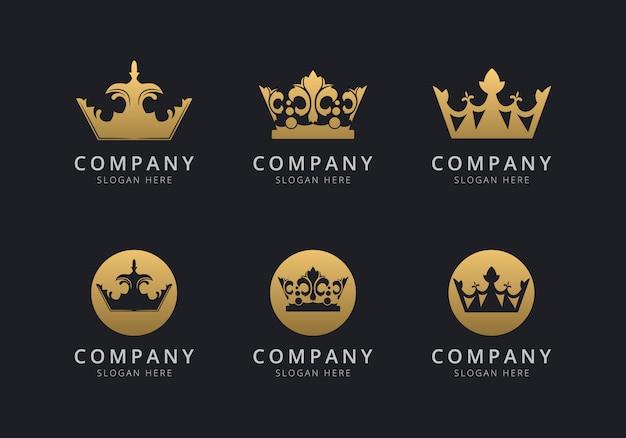 Plantilla de logotipo de corona con color dorado para la empresa