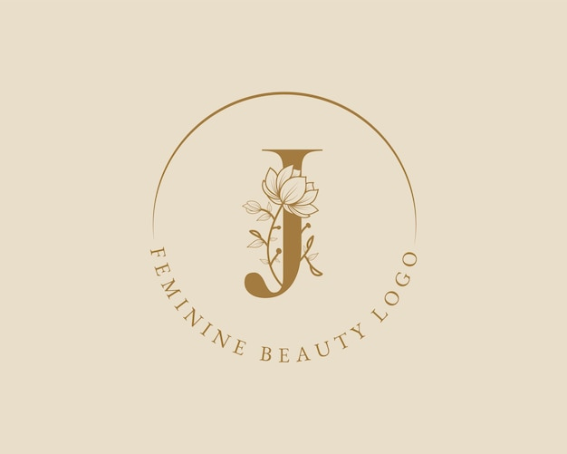 Plantilla de logotipo de corona de laurel inicial de letra j botánica femenina para tarjeta de boda de salón de belleza spa