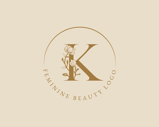 Plantilla de logotipo de corona de laurel inicial de letra k botánica femenina para tarjeta de boda de salón de belleza de spa